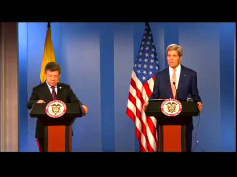 Secretary Kerry Delivers Remarks With Colombian President Santos