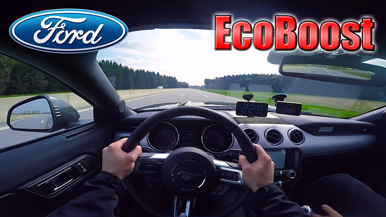 2017 ford mustang ecoboost 0 240km h pov acceleration top speed test✓