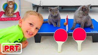 Vlad e Niki brincam com gatinhos