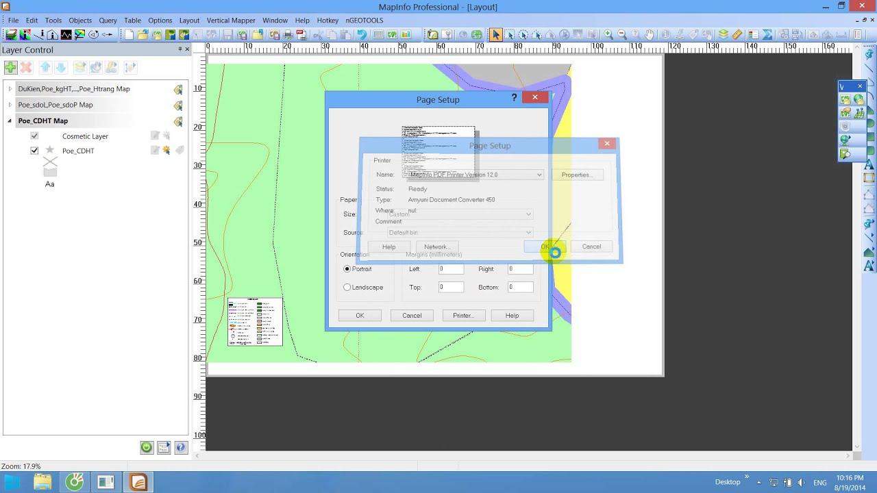 Thiết lập khổ giấy lớn hơn A0 trong Mapinfo (Custom size)