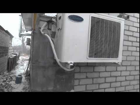 Работа наружного блока теплового насоса. Мощность обогрева 5кВт. Потребляемая мощность 1.6кВт