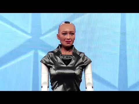 Day3-Robot Sophia a social humanoid robot, developed by Hanson Robotics, at the IAA World Congress