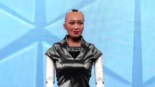 Day3Robot Sophia a social humanoid robot, developed by Hanson Robotics, at the IAA World Congress