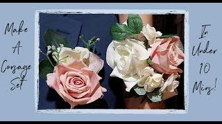 How To Make A Corsage Set For Wedding Or Homecoming! Under 10 Mins Corsage Set!