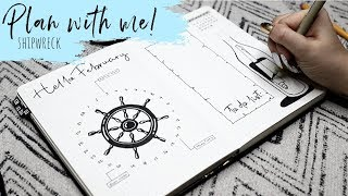 Plan With Me! | February 2019 Bullet Journal Ocean Theme (Shipwreck/Nautical/Pirate)