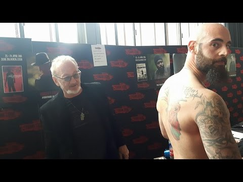 Showing Robert Englund his signed Freddy Tattoo!