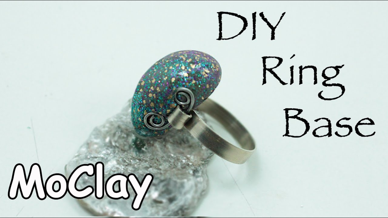 DIY How to make a wire Ring Base and Polymer clay stone - YouTube