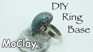 DIY How to make a wire Ring Base  and  Polymer clay stone
