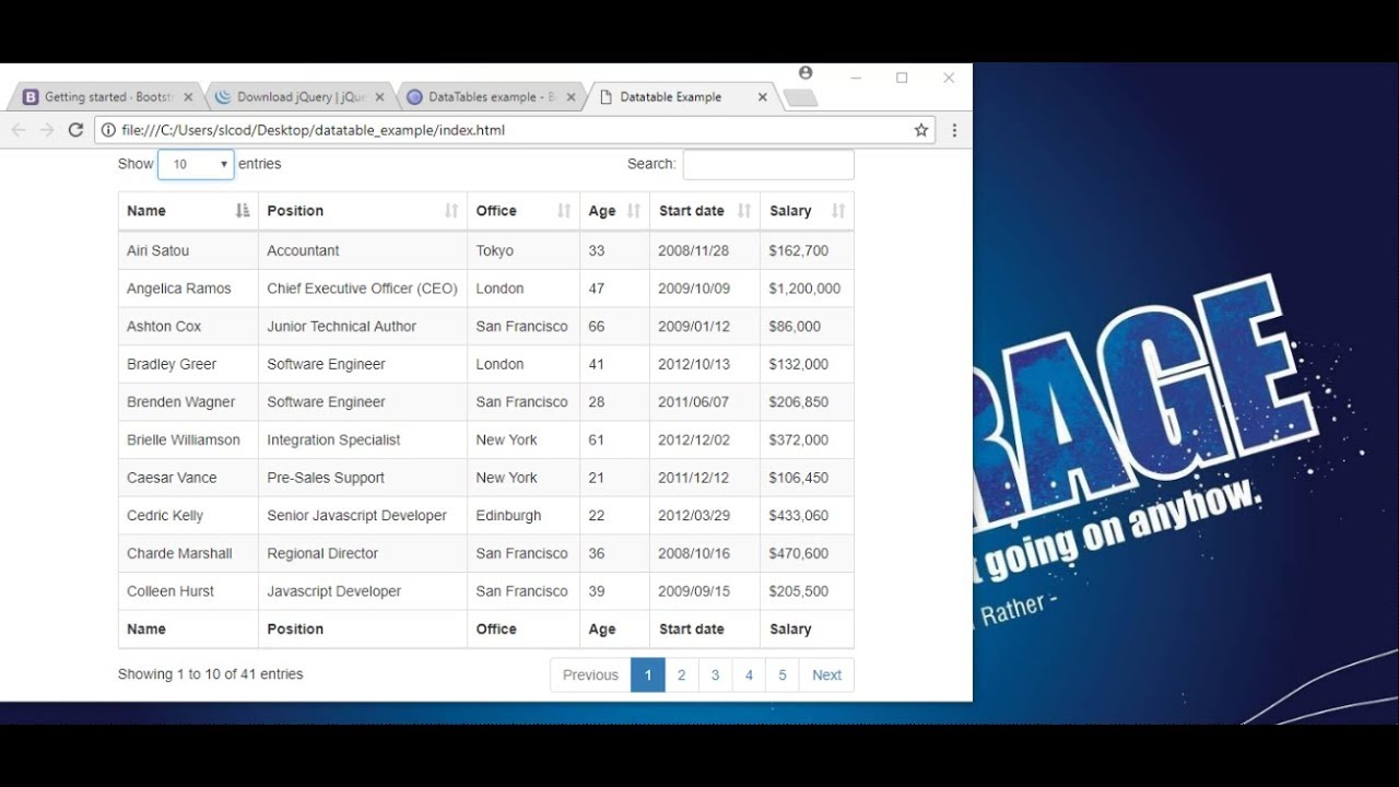 Add data to the Jquery DataTable plugin using Javascript - Part 2