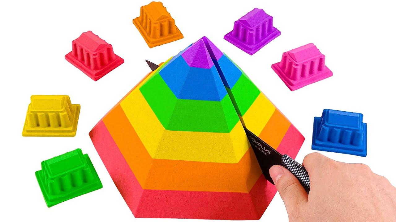 Satisfying Asmr l How To Make Rainbow Pyramid With Kinetic Sand Cutting ASMR #221 Bon Bon