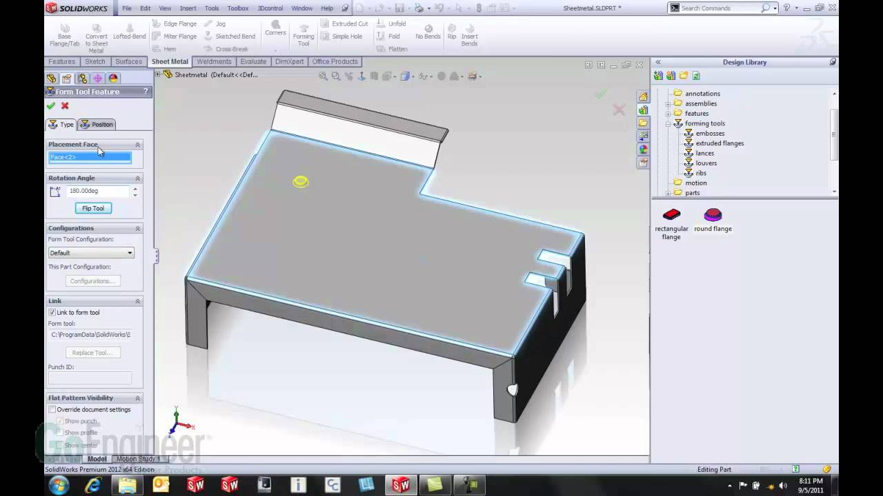 SolidWorks 2012- Sheet Metal Forming Tools - YouTube