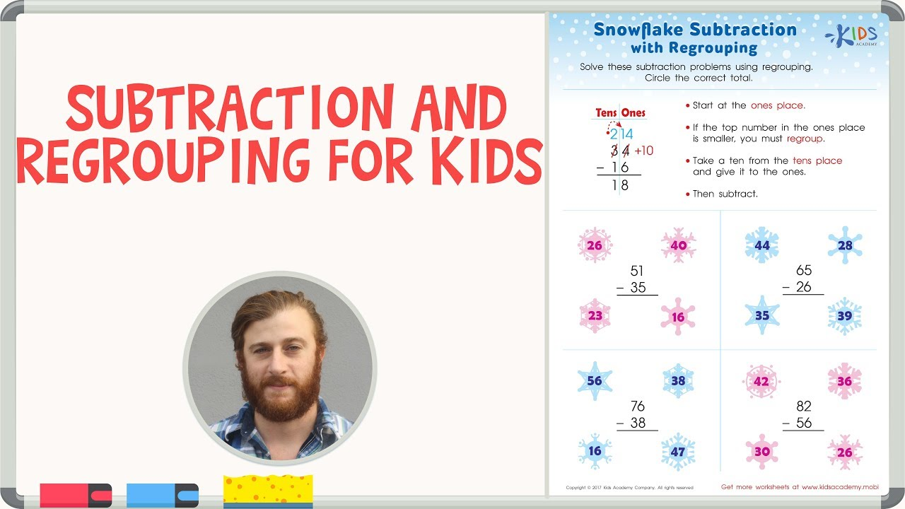 Subtraction and Regrouping for Kids   Math Worksheets for 2nd Grade -  YouTube [ 720 x 1280 Pixel ]