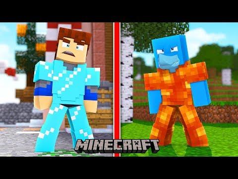ICE ARMOUR VS LAVA ARMOUR , SHARKY VS SCUBA STEVE !! Minecraft Bed Wars