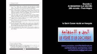 Sourate 2 : Al-BAQARAH (LA VACHE) Coran récité en français seulement- mp3 - www.veritedroiture.fr thumbnail