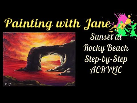 Sunset at Rocky Beach Step by Step Acrylic Painting on Canvas for Beginners
