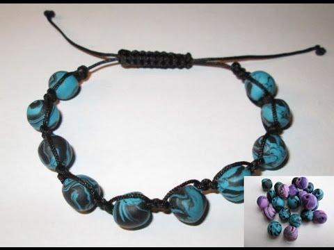 d i y tuto bracelet shamballa avec perles en fimo tres facile easy make shamballa youtube. Black Bedroom Furniture Sets. Home Design Ideas