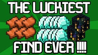 Minecraft Xbox 360 - THE LUCKIEST FIND EVER !! - [6 Saddles, 10 Diamonds, 2 Mob Spawners]