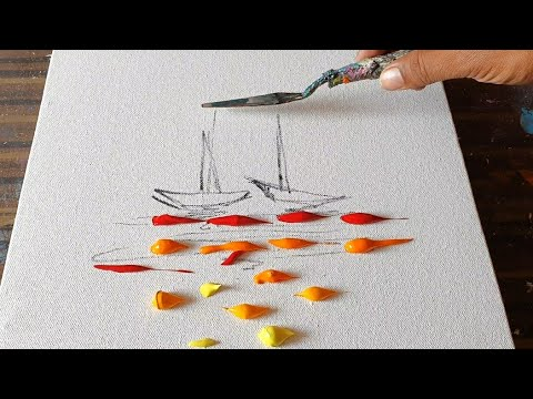Sail Boats / Abstract Painting Demo for beginners / Easy and Relaxing / Daily Art Therapy / Day#0253