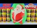 giant santa claus surprise egg play doh christmas toys frozen shopkins mlp radz