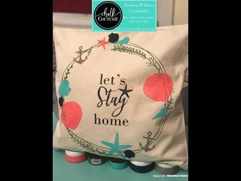 Chalk Couture Sea Shore Pillow With Anchor And Rustic Wreath Transfers