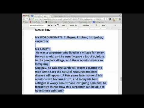 Intermediate English Creative Writing Class, topic prompts