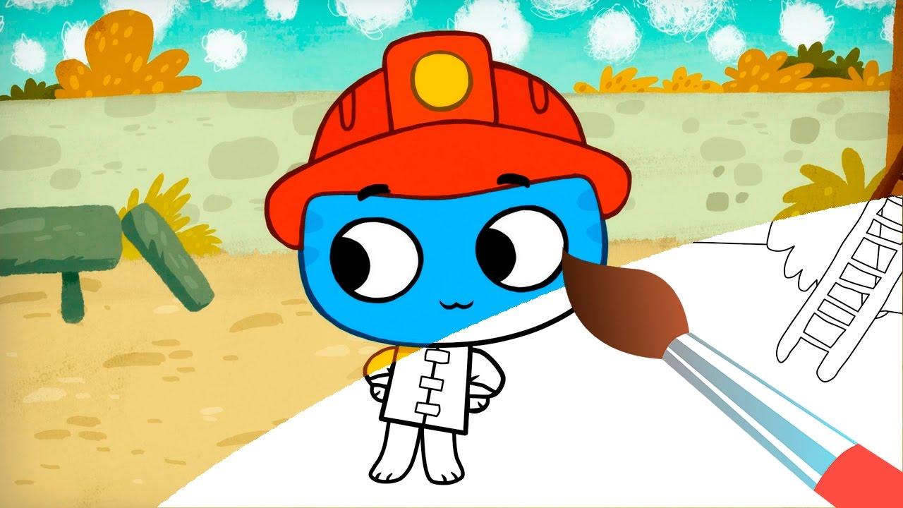 Раскраска - Котики, Вперед! Как стать пожарным ...