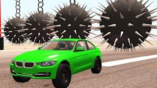Cars smash balls with spikes hanging on chain - Beamng drive