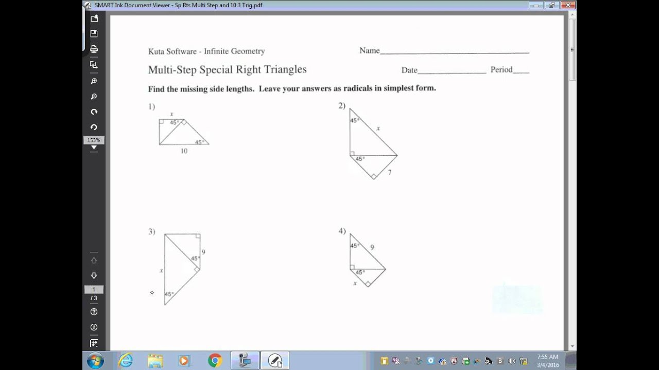 √ Special Right Triangles Worksheet   Geometry Special ...