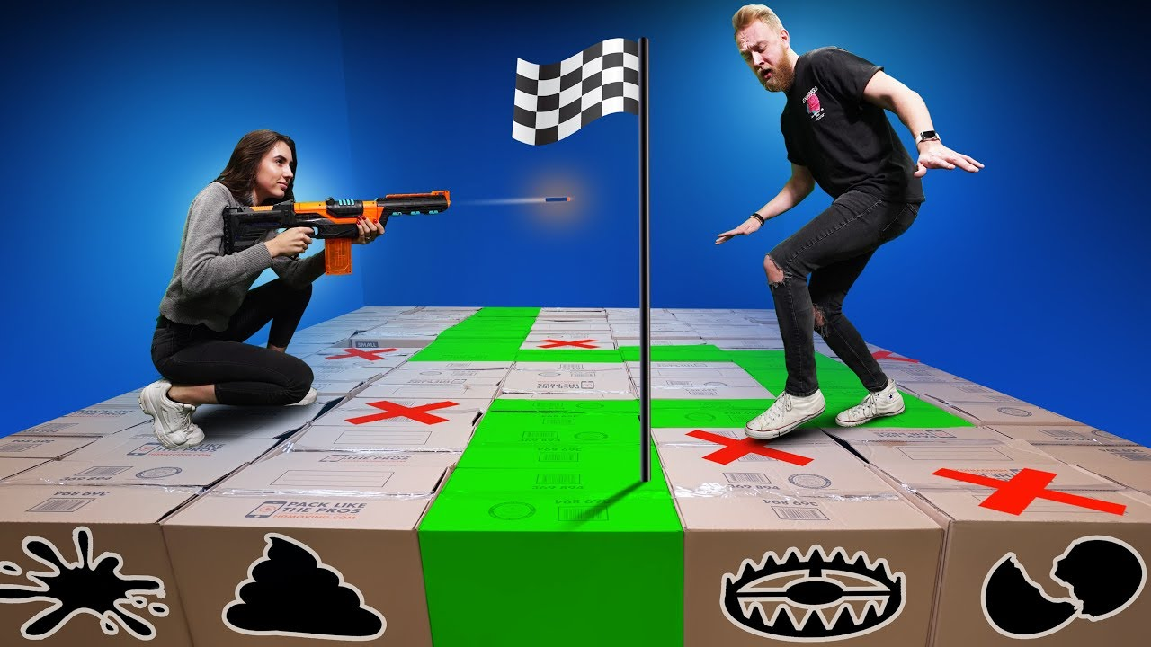 Nerf Don T Fall In The Mystery Box Challenge Youtube