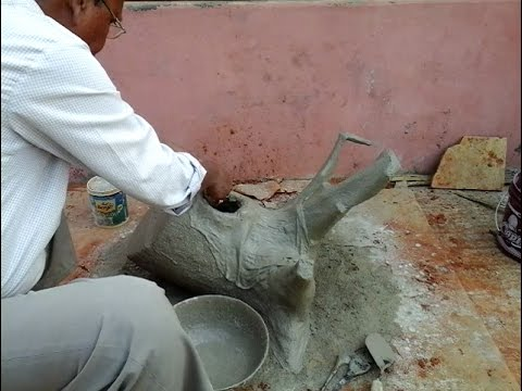 Making Of Cement Tree Trunk For Garden Decoration