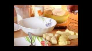 картофель запечный с сыром, рис с курагой, фрукты в сладком кляре - пакоры
