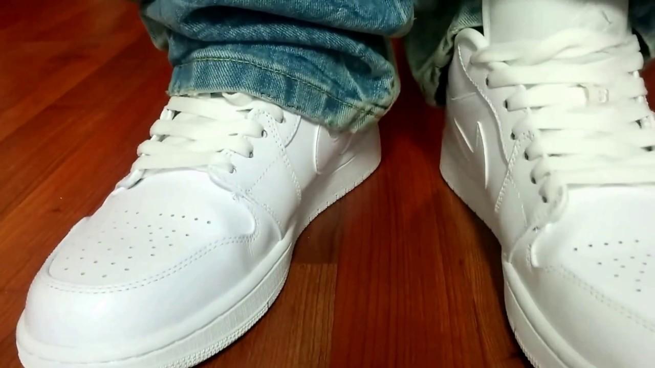 Nike Air Jordan Retro 1 Low Sneaker On Feet Youtube