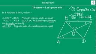 Diagonals of a parallelogram bisect each other (Theorem and Proof)