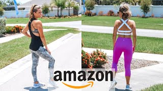 HUGE Amazon Activewear HAUL & TRY ON   Cheap AMAZON Workout Clothes   LEGGINGS,  TOPS & SPORTS BRAS