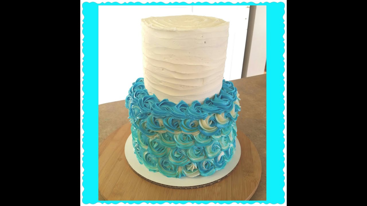 Part 1 rosette tier cake: frosting the top tier - YouTube