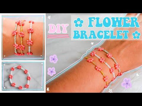 DIY seed bead flower bracelet *EASY*