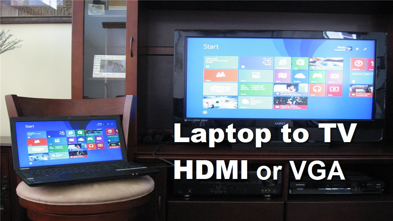 How To Connect Laptop To Tv Using Hdmi Cable Or Vga Cable