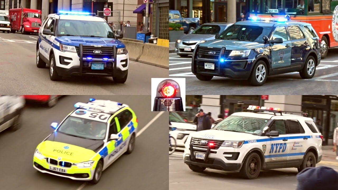 Police Cars Responding Compilation - Boston, New York, Liverpool, Naples