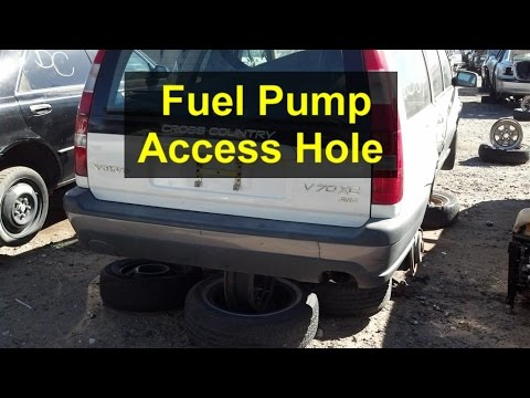 Fuel pump access hole in floor of a P80 Volvo with AWD ...