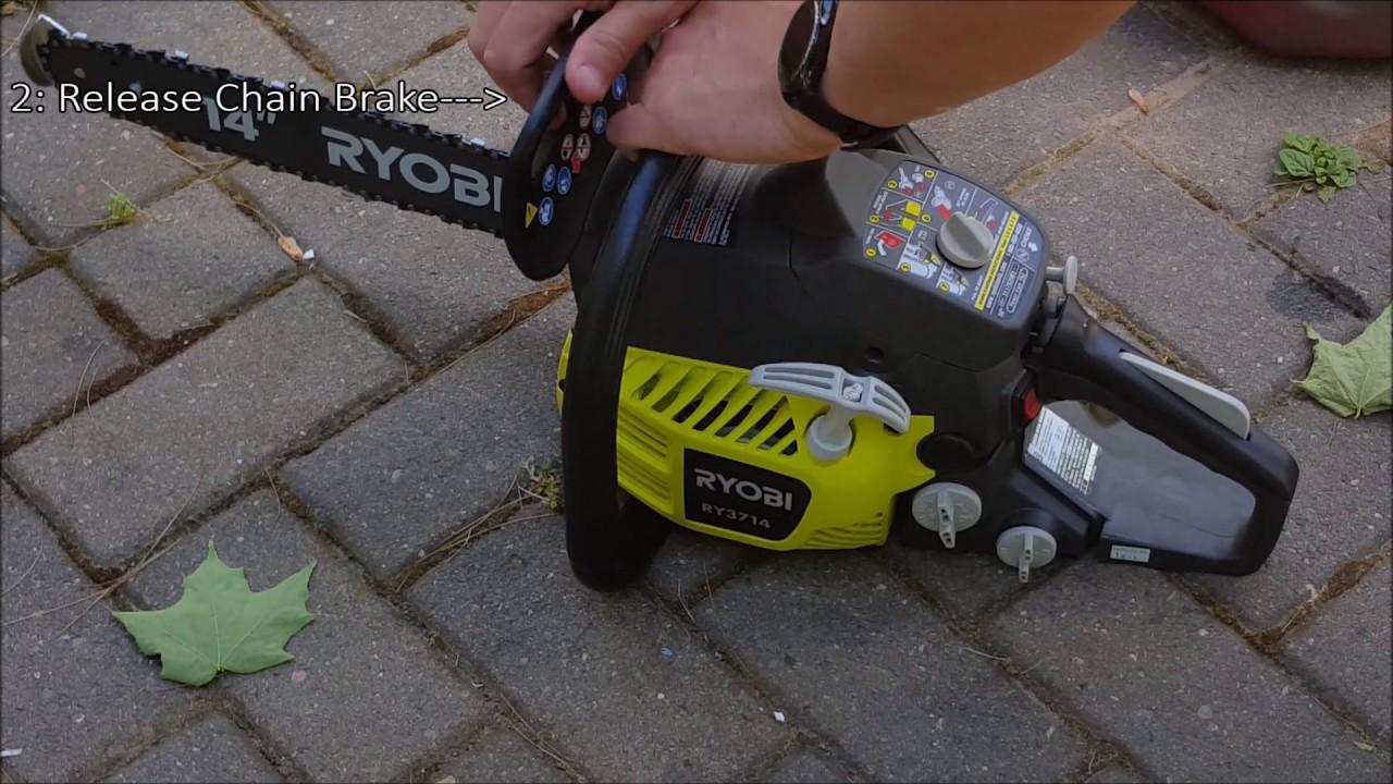 Ryobi 3714 Chain Saw Unboxing Starting