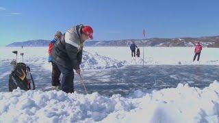 Ice golf tournament played on frozen Lake Baikal in Siberia