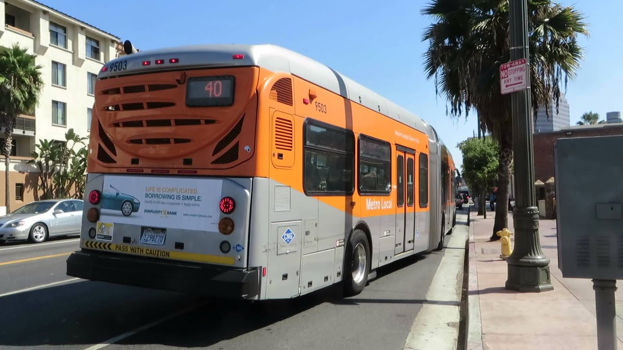 LACMTA Metrobus: S.Bay Galleria bound 60-BRT CNG 9503 Rt.40 at Alameda  St/Cesar Chavez Av - YouTube