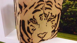 Alessandra Palante – Caixa com Tigre em Pirografia