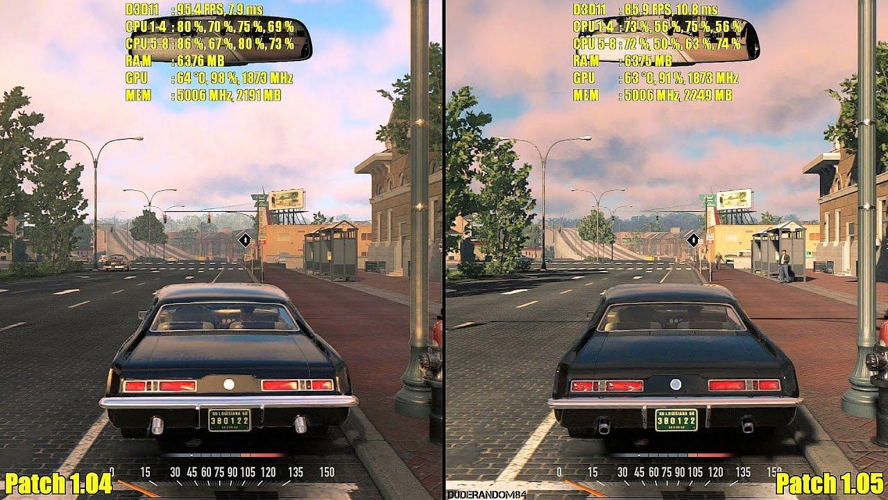 Mafia 3 Pc Update Patch 1.05 Vs Patch 1.04 GTX 1080 Frame Rate ...