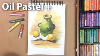 오일파스텔로 물병이 있는 정물화 그리기. Draw st…