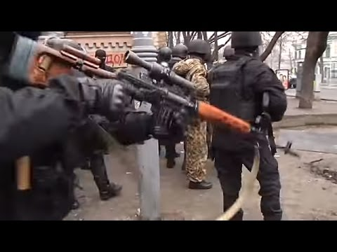 Euromaidan - Riot cops and snipers shoot at protesters in Kiev Ukraine