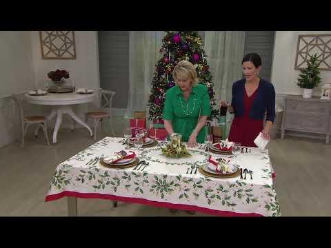 Lenox Holiday Table Cloth and Napkin Set on QVC