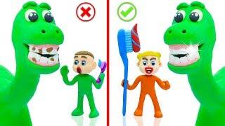 SUPERHERO BABY DINOSAUR TOOTHBRUSH 💖 Play Doh Cartoons For Kids