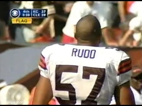 In the 2002 opener, Browns LB Dwayne Rudd takes off his helmet to celebrate what he thought was a game-ending sack, not realizing KC QB Trent Green had gotten rid of the ball. Rudd's premature celebration earns a penalty and the Chiefs kick a 30 yard FG on an untimed down to win the game 40-39.