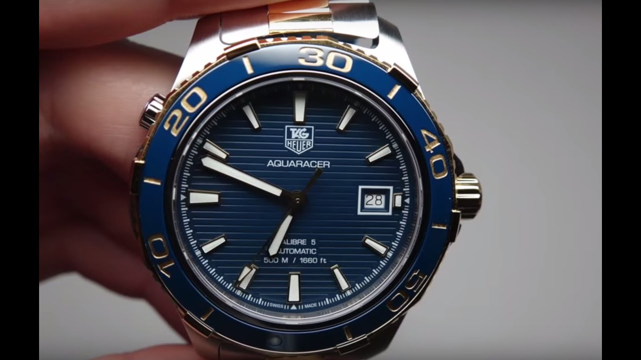 This Tag: Tag Heuer Aquaracer Blue Dial Yellow Gold Plated Men's